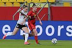 v.li.: Klara Bühl (Deutschland, 19) und Laura Deloose (Belgien, 22) im Zweikampf, Duell, Dynamik, Aktion, Action, Spielszene, DIE DFB-RICHTLINIEN UNTERSAGEN JEGLICHE NUTZUNG VON FOTOS ALS SEQUENZBILDER UND/ODER VIDEOÄHNLICHE FOTOSTRECKEN. DFB REGULATIONS PROHIBIT ANY USE OF PHOTOGRAPHS AS IMAGE SEQUENCES AN/OR QUASI-VIDEO., 21.02.2021, Aachen (Deutschland), Fussball, Länderspiel Frauen, Deutschland - Belgien <br /> <br /> Foto © PIX-Sportfotos *** Foto ist honorarpflichtig! *** Auf Anfrage in hoeherer Qualitaet/Aufloesung. Belegexemplar erbeten. Veroeffentlichung ausschliesslich fuer journalistisch-publizistische Zwecke. For editorial use only.