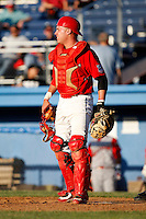 June 22, 2009:  Catcher Jack Cawley of the Batavia Muckdogs in the field during a game at Dwyer Stadium in Batavia, NY.  The Muckdogs are the NY-Penn League Short-Season Class-A affiliate of the St. Louis Cardinals.  Photo by:  Mike Janes/Four Seam Images