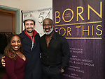 """Stephanie Mills, Lin-Manuel Miranda and BeBe Winans backstage after a Song preview performance of the Bebe Winans Broadway Bound Musical """"Born For This"""" at Feinstein's 54 Below on November 5, 2018 in New York City."""
