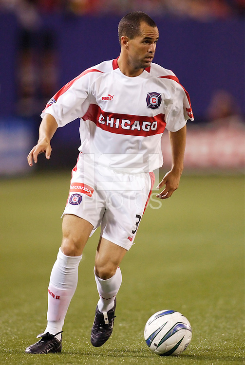 The  Chicago Fire's Evan Whitfield. The Chicago Fire played the NY/NJ MetroStars to a one all tie at Giant's Stadium, East Rutherford, NJ, on May 15, 2004.