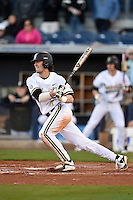 Vanderbilt Commodores infielder Dansby Swanson (7) at bat during a game against the Indiana State Sycamores on February 20, 2015 at Charlotte Sports Park in Port Charlotte, Florida.  Vanderbilt defeated Indiana State 3-2.  (Mike Janes/Four Seam Images)