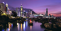 The skyline of Hong Kong Island in Hong Kong..
