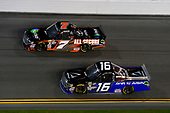 NASCAR Camping World Truck Series<br /> NextEra Energy Resources 250<br /> Daytona International Speedway, Daytona Beach, FL USA<br /> Friday 16 February 2018<br /> Brett Moffitt, Hattori Racing Enterprises, AISIN GROUP Toyota Tundra and Korbin Forrister, All Out Motorsports, Tru Clear Global Toyota Tundra<br /> World Copyright: Russell LaBounty<br /> LAT Images