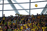 Norwich City 2 Middlesbrough 0, 25/05/2015. Wembley Stadium, Championship Play Off Final. Norwich City fans sat at the back of Wembley Stadium. A match worth £120m to the victors. On the day Norwich City secured an instant return to the Premier League with victory over Middlesbrough in front of 85,656. Photo by Simon Gill.