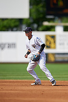 Staten Island Yankees second baseman Jesus Bastidas (2) during a game against the Lowell Spinners on August 22, 2018 at Richmond County Bank Ballpark in Staten Island, New York.  Staten Island defeated Lowell 10-4.  (Mike Janes/Four Seam Images)