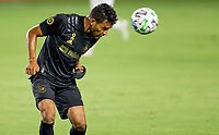 CARSON, CA - SEPTEMBER 06: Eddie Segura #4 of LAFC heads a ball during a game between Los Angeles FC and Los Angeles Galaxy at Dignity Health Sports Park on September 06, 2020 in Carson, California.