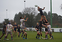 Rory Bartle of London Scottish Football Club wins the line out during the Greene King IPA Championship match between London Scottish Football Club and Rotherham Titans at Richmond Athletic Ground, Richmond, United Kingdom on 1 January 2017. Photo by Alan  Stanford.