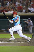 Mike Trout (27) of the Los Angeles Angels at bat for the Inland Empire 66ers during a rehab assignment against the Stockton Ports at San Manuel Stadium on July 6, 2017 in San Bernardino, California. The Ports defeated the 66ers 7-6.  (Brian Westerholt/Four Seam Images)