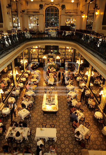 """Rio de  Janeiro, Brazil. View from above of the interior of the famous """"La Confeitaria"""" Cafe Colombo."""