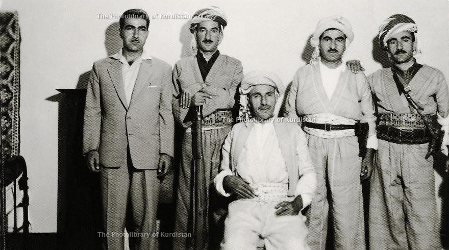 Iraq 1959<br /> Baghdad:From right to left , Nazar, Mustafa Barzani, sheikh Ahmed, Mohammed Khaled and Obeidalla Barzani<br /> Irak 1959<br /> Baghdad: De droite a gauche, Nazar, Mustafa Barzani, Sheikh Ahmed, Mohammed Khaled et Obeidalla Barzani