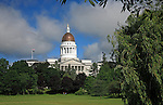 View of the Maine State House, Augusta, Maine, USA.