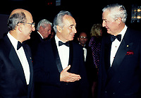 Undated  File Photo  circa 1990 - Charles Bronfman (L), Shimon Perres (M) and Paul Desmarais (R) .<br /> <br /> Desmarais passed away October 10, 2013. He was 86 years old<br /> <br /> PHOTO :  Agence Quebec Presse