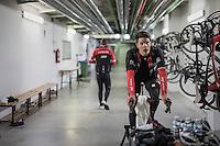 Due to the bad weather outside the planned long training ride was cut 1 hour short, so Jasper Stuyven (BEL/Trek-Segafredo) decided to complete the planned hours of training on the rollers in the hotel basement<br /> <br /> Team Trek-Segafredo winter training camp <br /> <br /> january 2017, Mallorca/Spain