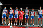Groupama-FDJ team at sign on before Stage 3 of the Route d'Occitanie 2020, running 163.5km from Saint-Gaudens to Col de Beyrède, France. 3rd August 2020. <br /> Picture: Colin Flockton | Cyclefile<br /> <br /> All photos usage must carry mandatory copyright credit (© Cyclefile | Colin Flockton)