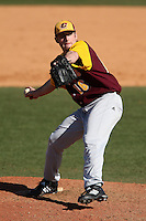 March 7, 2010:  Pitcher Zach Cooper (16) of the Central Michigan Chippewas during game at Jay Bergman Field in Orlando, FL.  Central Michigan defeated Central Florida by the score of 7-4.  Photo By Mike Janes/Four Seam Images