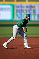 Beloit Snappers shortstop Marcos Brito (6) during a Midwest League game against the Lansing Lugnuts at Cooley Law School Stadium on May 4, 2019 in Lansing, Michigan. Beloit defeated Lansing 2-1. (Zachary Lucy/Four Seam Images)