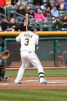 J.B. Shuck (3) of the Salt Lake Bees at bat against the Sacramento River Cats at Smith's Ballpark on April 3, 2014 in Salt Lake City, Utah.  (Stephen Smith/Four Seam Images)