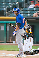Matt Szczur (8) of the Iowa Cubs at bat against the Salt Lake Bees in Pacific Coast League action at Smith's Ballpark on August 21, 2015 in Salt Lake City, Utah. The Bees defeated the Cubs 12-8.(Stephen Smith/Four Seam Images)