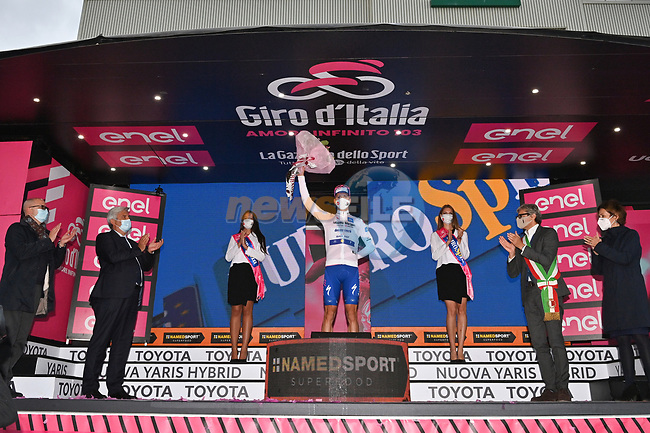 Race leader Joao Almeida (POR) Deceuninck-Quick Step also retains the young riders Maglia Bianca at the end of Stage 11 of the 103rd edition of the Giro d'Italia 2020 running 182km from Porto Sant'Elpidio to Rimini, Italy. 14th October 2020.  <br /> Picture: LaPresse/Massimo Paolone | Cyclefile<br /> <br /> All photos usage must carry mandatory copyright credit (© Cyclefile | LaPresse/Massimo Paolone)