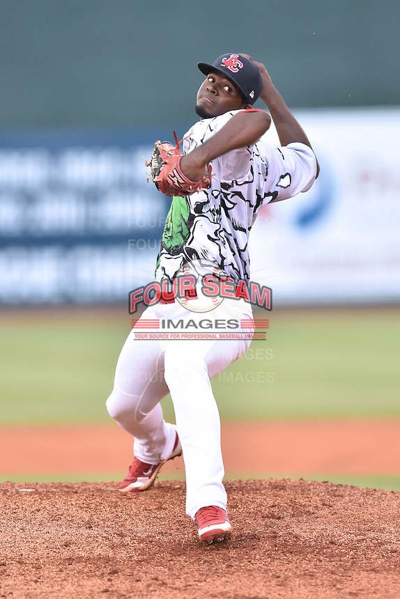 Johnson City Cardinals starting pitcher Ramon Santos (43) delivers a pitch during a game against the   Burlington Royals on June 27, 2015 in Johnson City, Tennessee. The Cardinals defeated the Royals 8-7. (Tony Farlow/Four Seam Images)