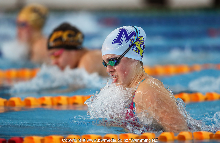 Brearna Crawford, 100m Breast. New Zealand Short Course Swimming Championships, National Aquatic Centre, Auckland, New Zealand, Tuesday 1st October 2019. Photo: Simon Watts/www.bwmedia.co.nz/SwimmingNZ