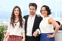 AMANDINE TRUFFY, DIRECTOR GREGOIRE LEPRINCE-RINGUET AND PAULINE CAUPELLE - PHOTOCALL OF THE FILM 'LA FORET DE QUINCONCES' AT THE 69TH FESTIVAL OF CANNES 2016