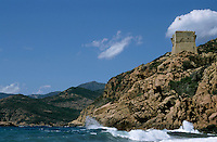 Historic Genoese tower on the coast at Porto, Corsica, France.