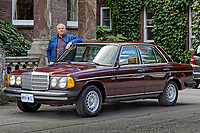 Mark Cosovich with a 1979 Mercedes W123 300 Turbo Diesel from Missouri in the USA, at Gliffaes Hotel near Abergavenny, Wales, UK. Friday 24 August 2019