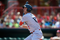 Reading Fightin Phils left fielder Andrew Pullin (17) follows through on a swing during a game against the Erie SeaWolves on May 18, 2017 at UPMC Park in Erie, Pennsylvania.  Reading defeated Erie 8-3.  (Mike Janes/Four Seam Images)