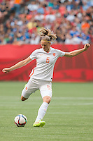 June 23, 2015: Anouk DEKKER of Netherlands kicks the ball during a round of 16 match between Japan and Netherlands at the FIFA Women's World Cup Canada 2015 at BC Place Stadium on 23 June 2015 in Vancouver, Canada. Japan won 2-1. Sydney Low/AsteriskImages.com