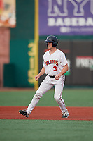 Brooklyn Cyclones Luke Ritter (3) leads off second base during a NY-Penn League game against the Tri-City ValleyCats on August 17, 2019 at MCU Park in Brooklyn, New York.  The game was postponed due to inclement weather, Brooklyn defeated Tri-City 2-1 in the continuation of the game on August 18th.  (Mike Janes/Four Seam Images)