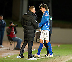 St Johnstone v Brechin...07.01.12  Scottish Cup Round 4.Fran Sandaza gets a well done from Steve Lomas as he is subbed late on.Picture by Graeme Hart..Copyright Perthshire Picture Agency.Tel: 01738 623350  Mobile: 07990 594431
