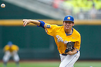 UC Santa Barbara Gauchos pitcher Noah Davis (34) delivers a pitch to the plate against the Miami Hurricanes in Game 5 of the NCAA College World Series on June 20, 2016 at TD Ameritrade Park in Omaha, Nebraska. UC Santa Barbara defeated Miami  5-3. (Andrew Woolley/Four Seam Images)
