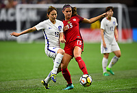 New Orleans, LA - Thursday October 19, 2017: Ji Sunmi, Alex Morgan during an International friendly match between the Women's National teams of the United States (USA) and South Korea (KOR) at Mercedes Benz Superdome.