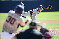 Adam Medrano (27) of the Fresno State Bulldogs pitches against the Pepperdine Waves at Eddy D. Field Stadium on March 7, 2017 in Los Angeles, California. Pepperdine defeated Fresno State, 8-7. (Larry Goren/Four Seam Images)