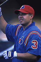Jose Vidro of the Montreal Expos during a 2000 season MLB game at Dodger Stadium in Los Angeles, California. (Larry Goren/Four Seam Images)