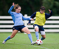 USWNT forward Lauren Cheney fights for the ball with defender Amy LePeilbet during practice in Chester, PA.  The USWNT will take on China, in an international friendly at PPL Park, on October 6.