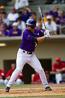 LSU Tigers first baseman Tyler Moore #2 at bat during the NCAA Super Regional baseball game against Stony Brook on June 9, 2012 at Alex Box Stadium in Baton Rouge, Louisiana. Stony Brook defeated LSU 3-1. (Andrew Woolley/Four Seam Images)