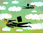 Illustrative image of businessmen flying in clouds representing business travel