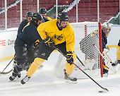 Jonathan Lashyn (Merrimack - 7), Hampus Gustafsson (Merrimack - 20), Rasmus Tirronen (Merrimack - 32) -  - The participating teams in Hockey East's first doubleheader during Frozen Fenway practiced on January 3, 2014 at Fenway Park in Boston, Massachusetts.