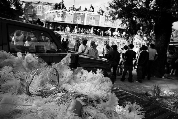 February 03, 2008. New Orleans, LA.. An Indian costume sits in the bed of a truck next to a parade route.