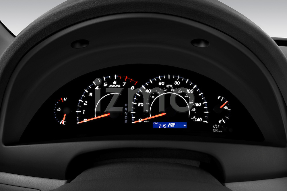 Instrument panel close up detail view of a 2010 Toyota Camry LE