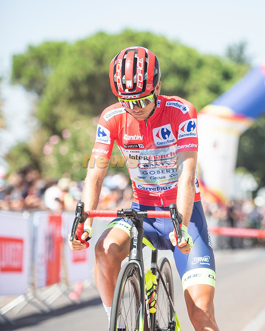 Race leader Odd Christian Eiking (NOR) Intermarché-Wanty-Gobert Matériaux lines up for the start of Stage 14 of La Vuelta d'Espana 2021, running 165.7km from Don Benito to Pico Villuercas, Spain. 28th August 2021.     <br /> Picture: Unipublic/Charly Lopez | Cyclefile<br /> <br /> All photos usage must carry mandatory copyright credit (© Cyclefile | Charly Lopez/Unipublic)