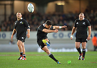 Dan Carter during the Steinlager Series international rugby test match between All Blacks and Ireland at Eden Park, Auckland, New Zealand on Saturday, 9 June 2012. Photo: Dave Lintott / lintottphoto.co.nz