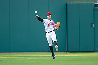 Indianapolis Indians left fielder Jake Elmore (13) during an International League game against the Columbus Clippers on April 29, 2019 at Victory Field in Indianapolis, Indiana. Indianapolis defeated Columbus 5-3. (Zachary Lucy/Four Seam Images)