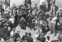 1969 FILE PHOTO - ARCHIVES -<br /> <br /> Montreal catcher John Bateman catches first pitch tossed out ley Quebec Premier Jean-Jacques Bertrand at bottom of picture next to mayor Jean Drapeau. Bertrand is the one wearing the baseball cap with his right hand out<br /> <br /> 1969<br /> <br /> PHOTO :  Frank Lennon - Toronto Star Archives - AQP
