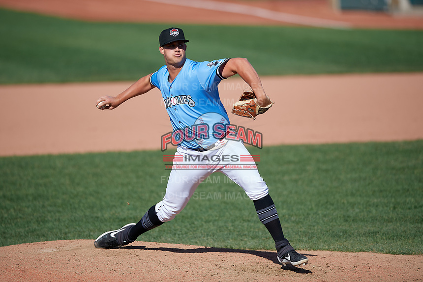 Erie SeaWolves pitcher Zac Houston (41) during an Eastern League game against the Akron RubberDucks on June 2, 2019 at UPMC Park in Erie, Pennsylvania.  Erie defeated Akron 8-5 in eleven innings in the second game of a doubleheader.  (Mike Janes/Four Seam Images)