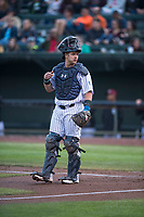 Idaho Falls Chukars catcher Chase Vallot (44) during a Pioneer League game against the Billings Mustangs at Melaleuca Field on August 22, 2018 in Idaho Falls, Idaho. The Idaho Falls Chukars defeated the Billings Mustangs by a score of 5-3. (Zachary Lucy/Four Seam Images)