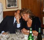 """SILVIO BERLUSCONI CON SIMONETTA VERDINI<br /> 75° COMPLEANNO DI LINO JANNUZZI - """"DA FORTUNATO AL PANTHEON"""" ROMA 2003"""