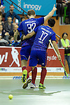 GER - Muelheim an der Ruhr, Germany, February 05: During the FinalFour final men hockey match between Rot-Weiss Koeln (whize) and Mannheimer HC (blue) on February 5, 2017 at innogy Sporthalle in Muelheim an der Ruhr, Germany. (Photo by Dirk Markgraf / www.265-images.com) *** Local caption *** Fabian Pehlke #32 of Mannheimer HC, Patrick Harris #17 of Mannheimer HC
